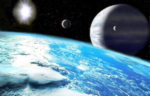 An artist's rendition of an exoplanet.
