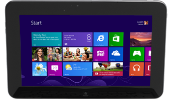A laptop screen showing the new Windows 8 interface