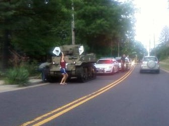 A tank pulled over by the Webster Groves Police.